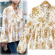 2016 new fashion women brand loose chiffon blouses V-neck long sleeve printed shirts casual yellow tops Online Order – Wallreview Online Store
