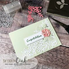 Springtime Impressions Thinlits Dies from the Abstract Impressions Bundle make for the perfect Congratulations card in Soft Sea Foam by Mikaela Titheridge, #6UK Independent Stampin' Up! Demonstrator, The Crafty oINK Pen. Supplies available through my online store 24/7