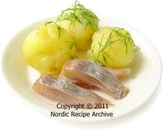 Boiled new potatoes with pickled herring
