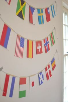 olympic flag garland ~ Some of these countries presented on this garland are not participating in the Olympics. Olympic Flag, Olympic Idea, Olympic Games, Olympic Gymnastics, Kids Olympics, Summer Olympics, Office Olympics, Classroom Themes, School Themes