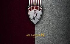 Download wallpapers AEL Larissa FC, 4k, logo, Greek Super League, leather texture, emblem, Larissa, Greece, football, Greek football club, Athlitiki Enosi Larissa