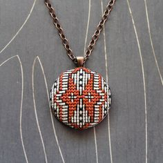 Owl cross stitch necklace/ pendant by TheWerkShoppe on Etsy, $44.00