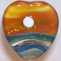 WSTGA~SUNRISE OVER KEY BISCAYNE~SEA OCEAN handmade lampwork focal glass bead SRA #Lampwork By Molly Cooley