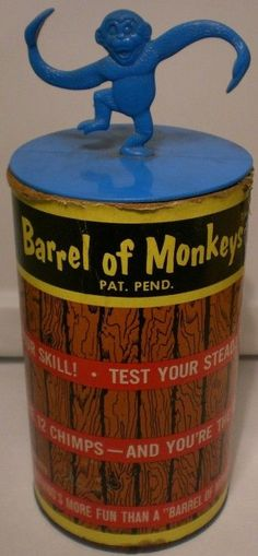 LAKESIDE: 1965 Barrel of Monkeys I remember the Monkey on top not sure about the barrel though