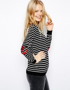 ASOS Striped Sweater with Anchor Patches