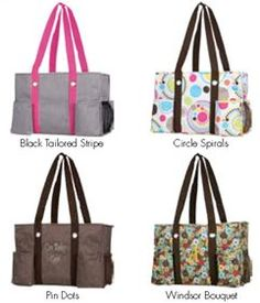 Thirty-One stuff! In love with the black and white pin stripe with pink handle!