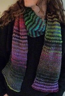 A striped scarf I knit using two colors of Noro Kureyon
