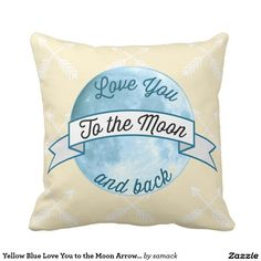 Yellow Blue Love You to the Moon Arrow Pattern