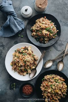 Pork Fried Rice - An easy and delicious way to get dinner on the table fast, this authentic pork fried rice with eggs hits all the right notes with great flavors and textures and tastes better than takeout. Lamb Recipes, Sausage Recipes, Cookbook Recipes, Cooking Tuna Steaks, Fried Rice With Egg, Asian Dinner Recipes, Restaurant Dishes, Cooking Supplies, How To Cook Rice