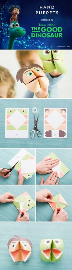 Have a hand puppet party with Arlo and Spot from Disney/Pixar's The Good Dinosaur on Blu-ray & Digital Feb 23. 1. Print out the template, cut out the square, then fold it in half vertically 2. Open it back up and fold it horizontally making sure to really crease the paper 3. Turn the image face down, then fold in the corners until they meet in the middle 4. Flip it over so the eyes face the table and fold in all of the corners again 5. Put your fingers into the open flaps and form it into…