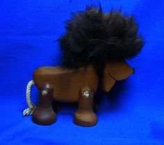 Vintage Danish Teak Design Wood Lion Figure signed Sveistrup Denmark #AL