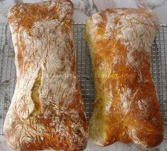 Reteta de mai jos este tot din cartea lui Peter Reinhart ''Paine artizanala in fiecare zi'' si este, fara pic de exagerare, minunata. Aluatul pt ciabatta, este foarte hidratat, comparativ cu cealalte paini, in rest, desi este un aluat moale si delicat,... Ciabatta, Calzone, Pie Dessert, Bread Baking, Scones, Bread Recipes, Dishes, Desserts, Pane