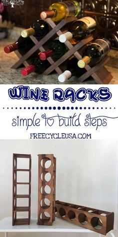 DIY Wine Racks The Effective Pictures We Offer You About DIY Wine Rack reclaimed wood A quality picture can tell you many things. You can find the most beautiful pictures that can be presented to you Small Wine Racks, Wood Wine Racks, Dyi Wine Rack, Wood Wine Holder, Bottle Rack, Wine Bottle Holders, Wine Bottles, Wine Decanter, Wine Rack Inspiration