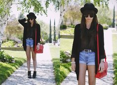 Scorett Booties, Urban Outfitters Hat, H Cardigan, Forever 21 Polka Dot Blouse, Vintage Shorts, H Bag