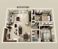 25 Two Bedroom House/Apartment Floor Plans | Pinterest | Apartment ...