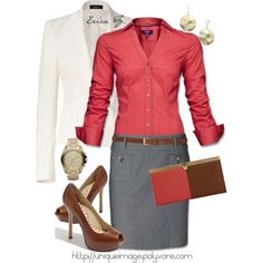 Business attire Coral blouse, grey skirt, white blazer, brown belt and pumps.