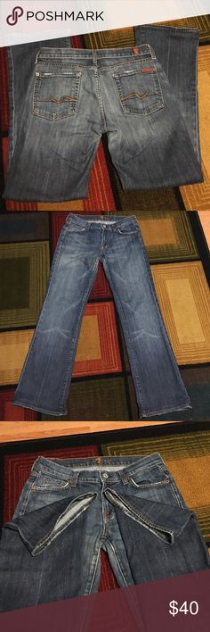 """7 for all mankind slight bootcut jeans 7 for all man kind slight flare jeans. Size 29.  28"""" length. Slight distressed look on pockets and bottom of jeans. These jeans are super cute. In excellent condition! 7 for all Mankind Jeans"""