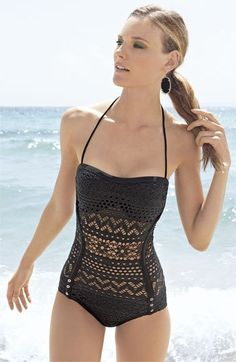 Robin Piccone Penelope Crochet Overlay One Piece Swimsuit style-envy