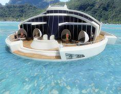 Yacht, Hotel und Unterseeboot  Das SFR ist eine futuristische Mischung aus Luxushotel, U-Boot und Kreuzfahrtschiff, dessen Energieverbrauch zu 100 % durch die Nutzung von Solarenergie gedeckt wird!