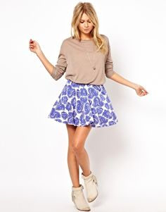 This is so cute!! ASOS Skater Skirt in Paisley Print