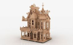 Fv 3d Puzzle Laser Plan Doll House Pattern Cnc Router Dxf Dollhouse Scrollsaw