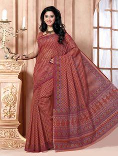Dark Brown Cotton Stylish Printed Saree