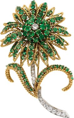 Emerald, Diamond and Gold Brooch