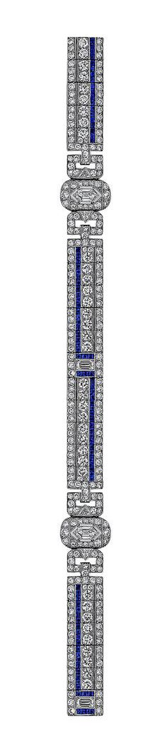 Art Deco Sapphire Diamond Bracelet. With approximately 15 total carats of diamonds and 5 carats of sapphires, this elegant Art Deco bracelet will light up any room! The glittering white diamonds and the velvety deep blue of the sapphires, mounted in platinum, are the perfect color combination for this extraordinary period creation. Circa 1925-30