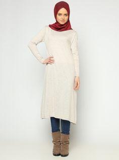 Knitted Tunic - Stone - Seyhan Fashion