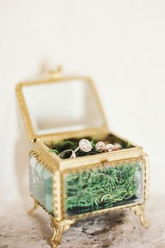 The bride and groom's wedding rings rest in a vintage clawfoot jewelry box with gold trim.