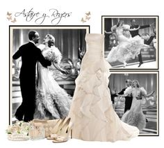 """""""Astaire y Rogers"""" by paolafashion ❤ liked on Polyvore featuring Lulu Townsend, Gucci, Rupert Sanderson, Worthington, peep-toe shoes, gowns and clutches"""