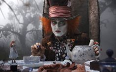 Hatter to Alice (Johnny Depp, Mia Wasikowska)~ 'You used to be much more. You've lost your muchness.'-courtesy Alice in Wonderland.by far the best film version , only Tim Burton could've pulled it off :) Johnny Depp Mad Hatter, Johnny Depp Movies, Alice Tea Party, Alice In Wonderland Tea Party, Film Tim Burton, Chesire Cat, Johny Depp, Mia Wasikowska, Mad Hatters