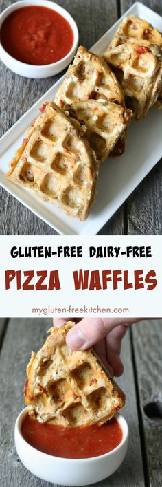 Free of top 8 allergens too! Easy for kids to make, these gluten-free pizza waffles are a fun and portable lunch idea! Dairy-free and top 8 free pizza waffle recipe! Pizza Sans Gluten, Dairy Free Pizza, Dessert Sans Gluten, Gluten Free Desserts, Allergies Alimentaires, Lactose Free Diet, Dairy Free Breakfasts, Allergy Free Recipes, Paleo Recipes