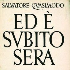 QUASIMODO SALVATORE, Ed è subito sera, 1942; prima edizione  www.alai.it