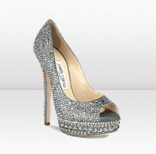 Jimmy Choo KENDALL ~ Anthracite Metallic Leather with Crystals Platform Peep Toe Pumps