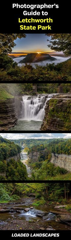 Photographer's Guide to Letchworth State Park (New York). Photography, photos, photographer, landscape, nature, upper falls, middle falls, lower falls, waterfalls, trails, hiking, overlooks, scenic vistas, views, sunset, sunrise, canyon, grand canyon of the east, #landscapephotography, #travelphotography