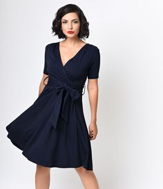 Unique Vintage 1950s Style Navy Lombard Faux Wrap Swing Dress