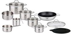 ELO Top Collection 1810 Stainless Steel Kitchen Induction Cookware Pots and Pans Set with Shock Resistant Glass Lids and Integrated Measuring Scale 14Piece * Learn more by visiting the image link.