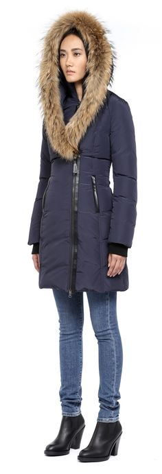Mackage - KAY-F4 LONG INK WINTER DOWN COAT FOR WOMEN WITH FUR HOOD