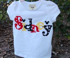 Custom Personalized Name Shirt or Onesie with Mouse Head Buttons...BOYS or GIRLS Applique Shirt. $34.00, via Etsy.