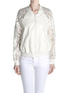 another fun white bomber jacket for some outdoor wedding pics