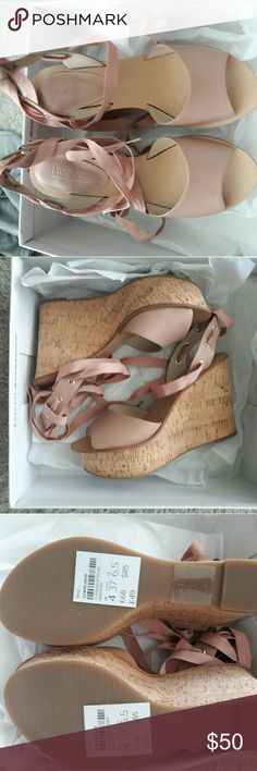 Topshop wise wedge size 6.5 Pink and brown wedge. No scuffs or scratches. Original state Topshop Shoes Wedges