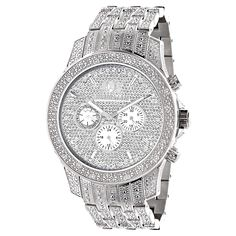 Affordable Iced Out Watches! This Luxurman Mens Diamond Watch features 1.25 carats of round diamonds masterfully set on the bezel, sides, lugs and the band of this silver stainless steel watch. The face of this LUXURMAN wrist watch showcases three white mother of pearl chronograph subdials and a date display at 4 o'clock. This men's diamond watch is water-resistant to 30 m (110 ft).