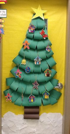 Christmas tree door decor. Maybe besides a classroom door, how about a child's bedroom door?