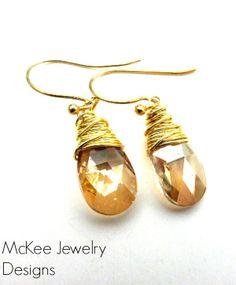 Crystal Swarovski Teardrop Glass, brass and gold jewelry. crystal jewelry,  andria mckee, McKee Jewelry,  McKee Jewelry Designs,   hand made jewelry, jewellery