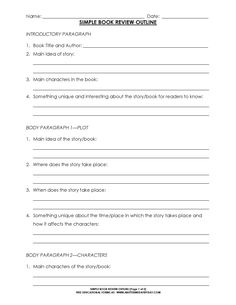 Simple 5 Paragraph Book Review Or Report Outline Form Format of Report Writing Business letter sample