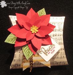 July 2015 Stamp With Amy K: Stampin' Up! square pillow box die and poinsettia punch Stampin Up Christmas, Noel Christmas, Christmas Projects, All Things Christmas, Handmade Christmas, Xmas Cards, Holiday Cards, Stampin Up Weihnachten, Poinsettia Cards