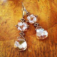 Swarovski gold crystal earrings gold earrings by AmyKanarekDesigns