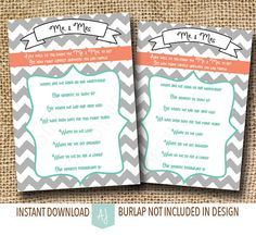 Chevron bridal shower game! How well do you know the bride and groom? Just download and print. Click through for matching invites, decorations, thank you cards, or anything else you can think of! Styles rang from modern to vintage, rustic to elegant. Only at Aesthetic Journeys