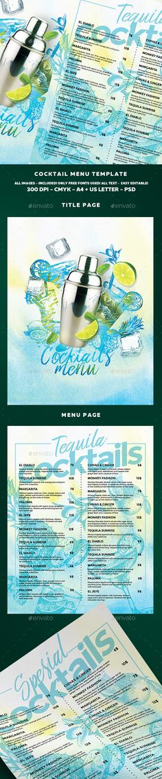 Buy Cocktail Drinks Menu by BigWeek on GraphicRiver. File info:Cocktail Drinks Menu Template and US Letter with bleed Mode: CMYK Files. Restaurant Menu Template, Restaurant Menu Design, Restaurant Restaurant, Menu Cocktail, Cocktail Pictures, Weekly Menu Template, Cocktail Illustration, Food Menu Design, Flyer Design